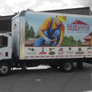 berlands house of tools box truck wrap digitally printed , laminated and applied graphics