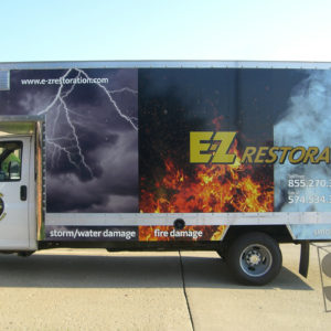 box truck wrap with reflective vinyl for the company logo ez restoration