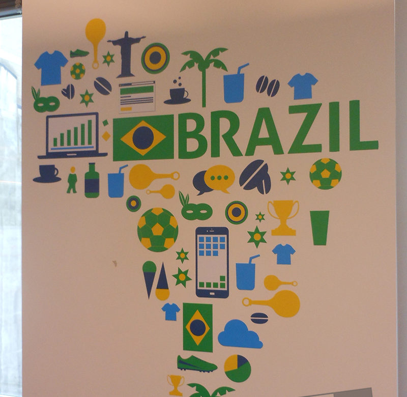 brazil inspired wall graphic for office building in downtown chicago