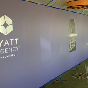 construction barricade for the hyatt regency hotel with vinyl graphics applied to mdo plywood