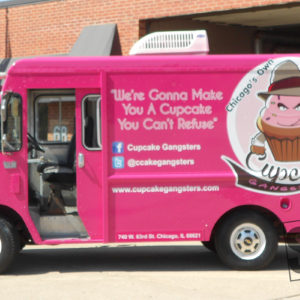 cupcake truck wrap with 3m 1j180-cv3 and preforated