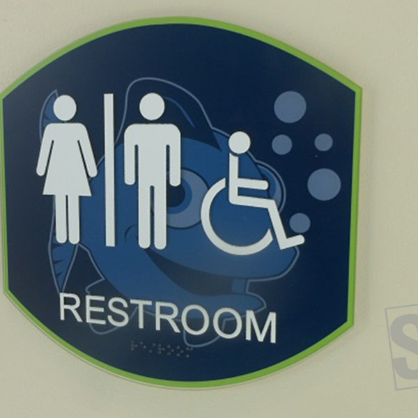 custom multi layer ada restroom sign with digitally printed logo and white raise text
