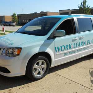 dodge caravan with a fully digitally printed vehicle wrap des plaines library