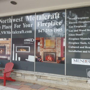 exterior window graphics with white copy and digitally printed product photos