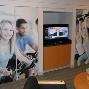 fitness movation digitally printed graphics applied to closet doors