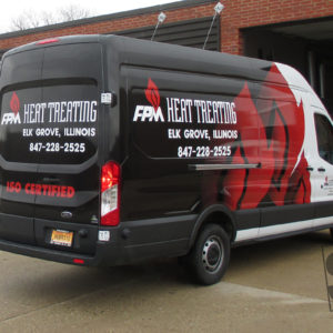 fpm heat treating half wrap with custom flame graphics