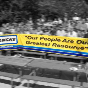 large banner for summer corporate event penski banner
