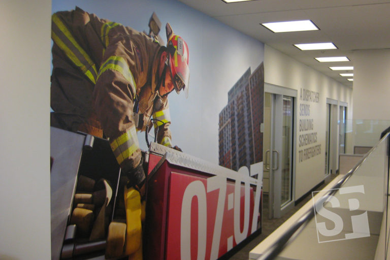 motorola solutions firefighter product graphics in office high rise
