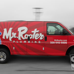 mr. rooter vehicle wrap graphics applied at a 3m certified facility