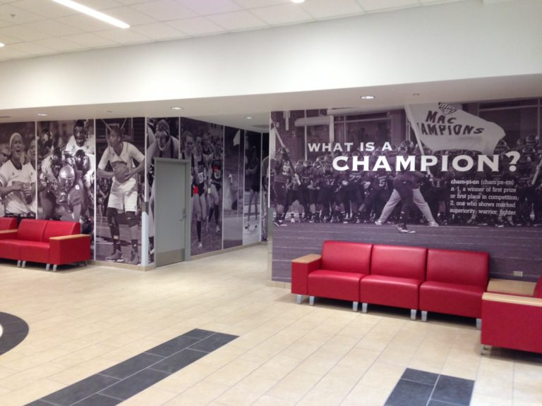 norther illinois university niu indoor practice facility wall graphics with raised white champion letters