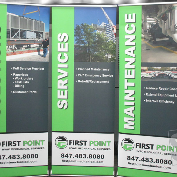 roll up banner stand with digitally printed graphics on non curl banner for first point mech
